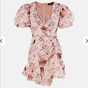 Missguided Pink Floral Puff Sleeve Mini Dress